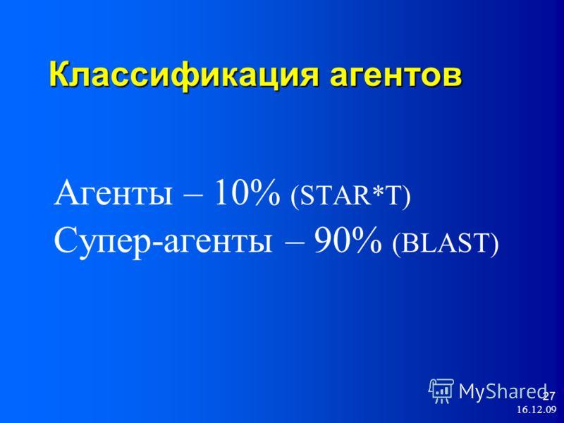 16.12.09 27 Классификация агентов Агенты – 10% (STAR*T) Супер-агенты – 90% (BLAST)