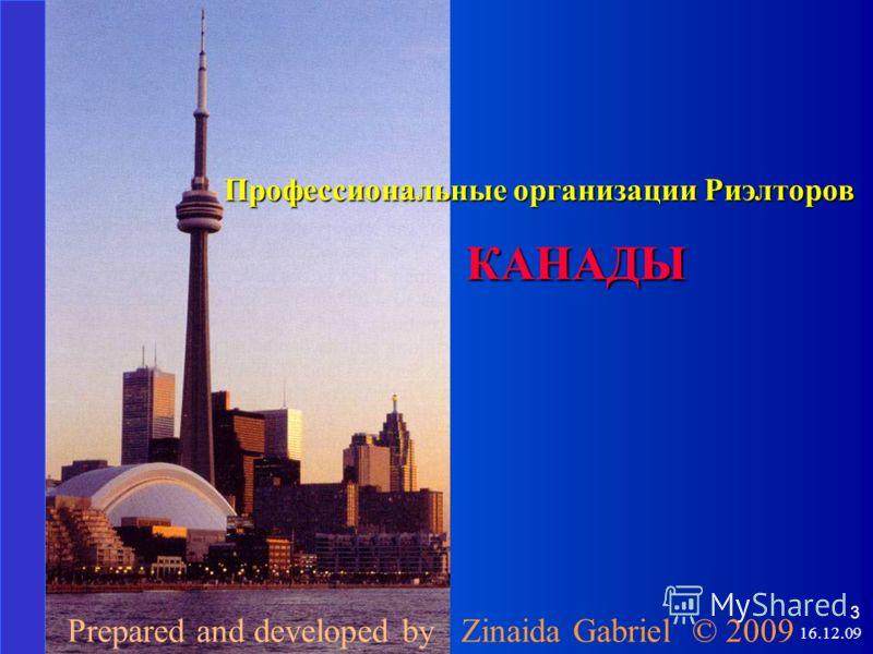 3 Профессиональные организации Риэлторов КАНАДЫ Prepared and developed by Zinaida Gabriel © 2009