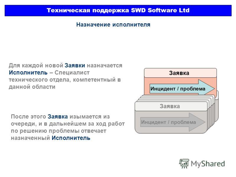 Техническая поддержка SWD Software Ltd Заявка Инцидент / проблема Назначение исполнителя Заявка Инцидент / проблема Для каждой новой Заявки назначается Исполнитель – Специалист технического отдела, компетентный в данной области После этого Заявка изы