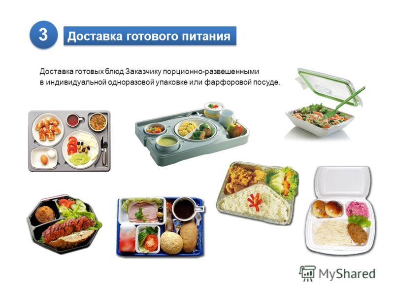 Доставка готового питания Доставка готовых блюд Заказчику порционно-развешенными в индивидуальной одноразовой упаковке или фарфоровой посуде. 3 3