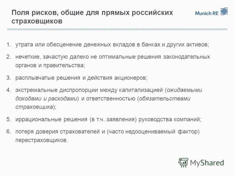 Поля рисков, общие для прямых российских страховщиков 1.утрата или обесценение денежных вкладов в банках и других активов; 2.нечеткие, зачастую далеко не оптимальные решения законодательных органов и правительства; 3.расплывчатые решения и действия а