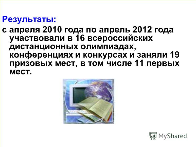 Результаты: с апреля 2010 года по апрель 2012 года участвовали в 16 всероссийских дистанционных олимпиадах, конференциях и конкурсах и заняли 19 призовых мест, в том числе 11 первых мест.
