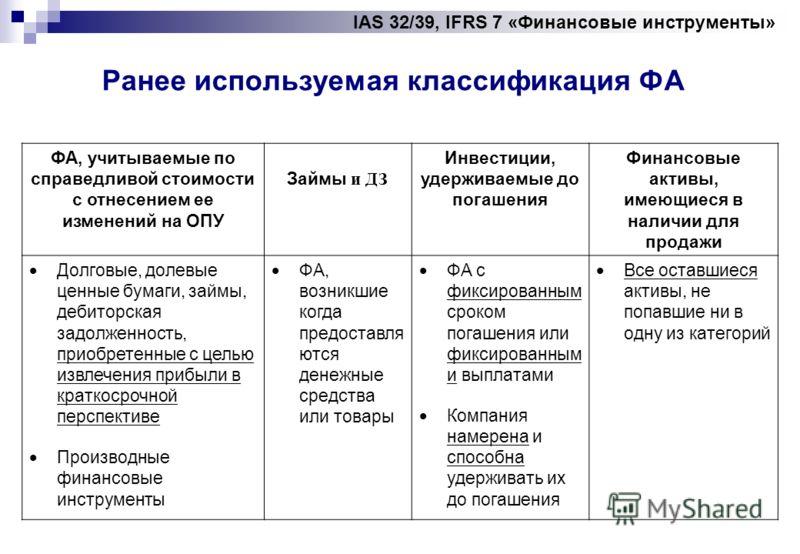 IAS 32/39, IFRS 7 «Финансовые инструменты» Ранее используемая классификация ФА ФА, учитываемые по справедливой стоимости с отнесением ее изменений на ОПУ Займы и ДЗ Инвестиции, удерживаемые до погашения Финансовые активы, имеющиеся в наличии для прод