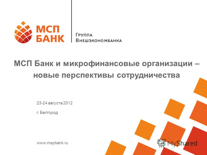 www.mspbank.ru МСП Банк и микрофинансовые организации – новые перспективы сотрудничества 23-24 августа 2012 г. Белгород