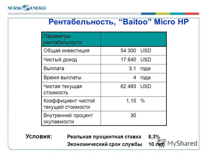 Рентабельность, Baitoo Micro HP Условия: Реальная процентная ставка 8,3% Экономический срок службы 10 лет Параметры рентабельности Общая инвестиция54 300USD Чистый доход17 640USD Выплата3,1года Время выплаты4года Чистая текущая стоимость 62 483USD Ко