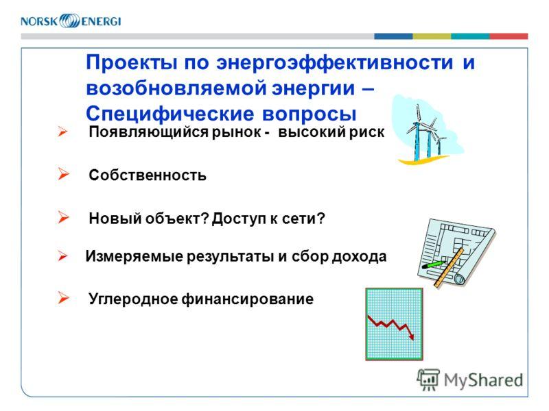 Проекты по энергоэффективности и возобновляемой энергии – Специфические вопросы Появляющийся рынок - высокий риск Собственность Новый объект? Доступ к сети? Измеряемые результаты и сбор дохода Углеродное финансирование