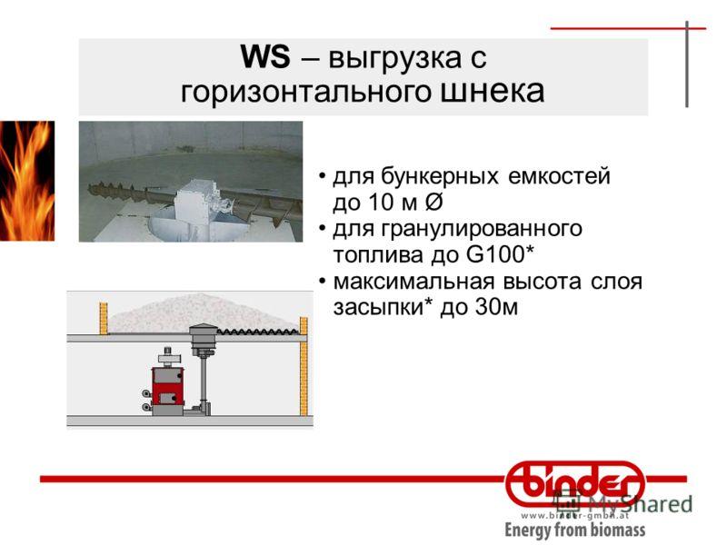 WS – выгрузка с горизонтального шнека для бункерных емкостей до 10 м Ø для гранулированного топлива до G100* максимальная высота слоя засыпки* до 30м