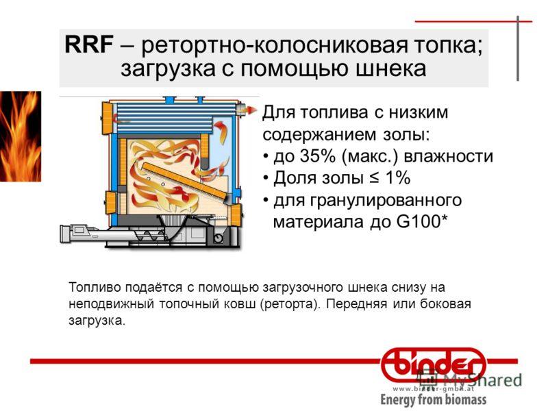 RRF – ретортно-колосниковая топка; загрузка с помощью шнека Для топлива с низким содержанием золы: до 35% (макс.) влажности Доля золы 1% для гранулированного материала до G100* Топливо подаётся с помощью загрузочного шнека снизу на неподвижный топочн
