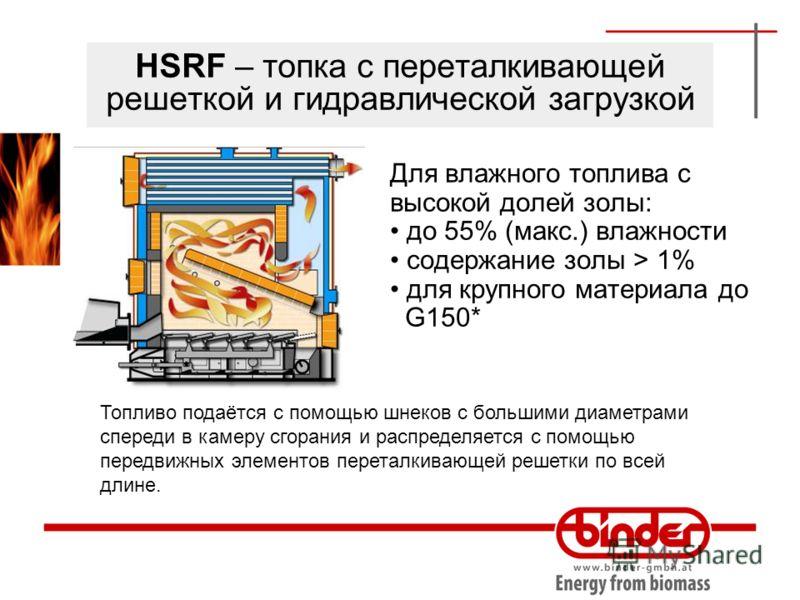 HSRF – топка с переталкивающей решеткой и гидравлической загрузкой Для влажного топлива с высокой долей золы: до 55% (макс.) влажности содержание золы > 1% для крупного материала до G150* Топливо подаётся с помощью шнеков с большими диаметрами сперед