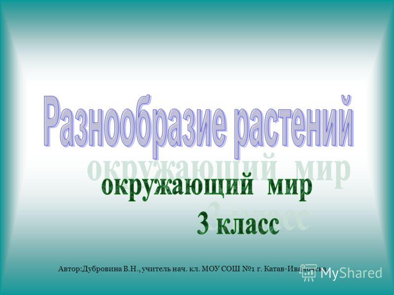 Автор:Дубровина В.Н., учитель нач. кл. МОУ СОШ 1 г. Катав-Ивановска