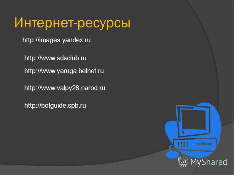 Интернет-ресурсы http://images.yandex.ru http://www.sdsclub.ru http://www.yaruga.belnet.ru http://www.valpy28.narod.ru http://botguide.spb.ru