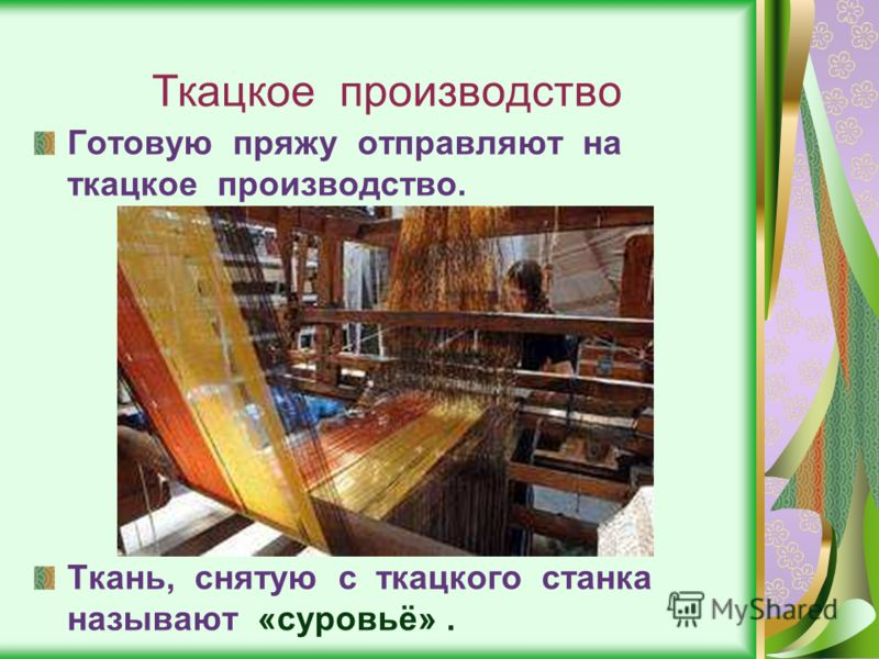 Ткацкое производство Готовую пряжу отправляют на ткацкое производство. Ткань, снятую с ткацкого станка называют «суровьё».