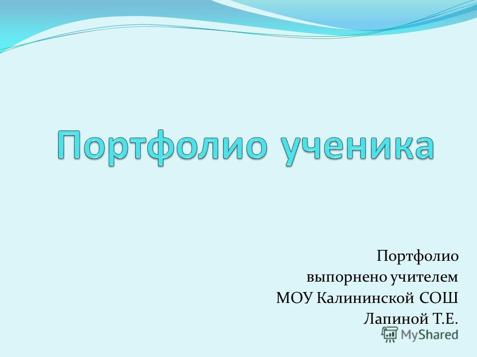 Портфолио выполнено учителем МОУ Калининской СОШ Лапиной Т.Е.