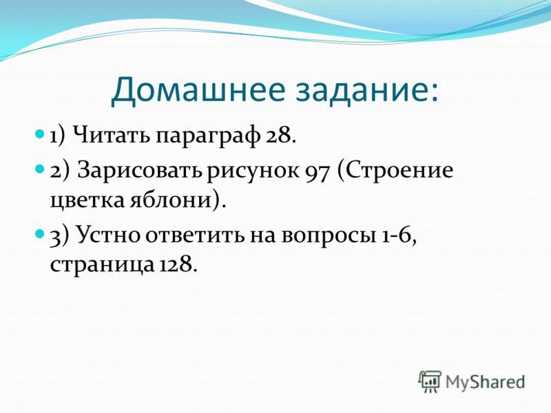Домашнее задание: 1) Читать параграф 28. 2) Зарисовать рисунок 97 (Строение цветка яблони). 3) Устно ответить на вопросы 1-6, страница 128.