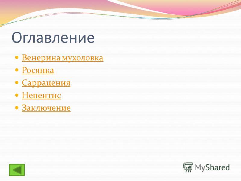 Оглавление Венерина мухоловка Росянка Саррацения Непентис Заключение