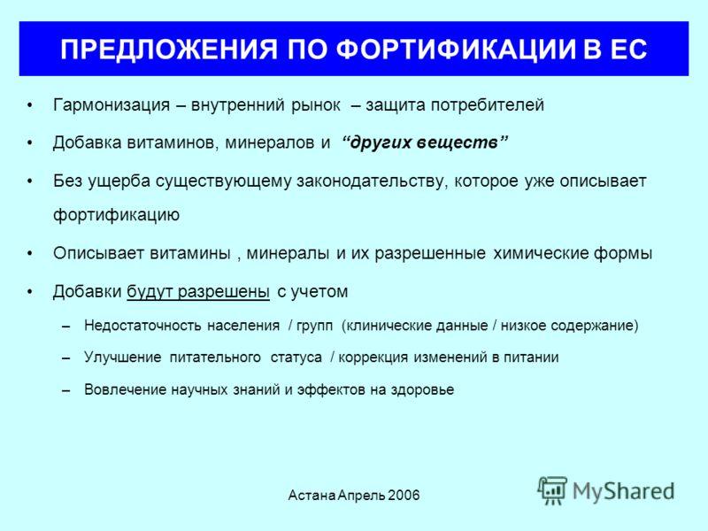 Астана Апрель 2006 ПРЕДЛОЖЕНИЯ ПО ФОРТИФИКАЦИИ В ЕС Растущий рынок для широкого спектра добровольно фортифицированной продукции –Многое рассматривается потребителями (и ведомствами) как вводящее в заблуждение и ненужное Таким образом – ЕС движется к