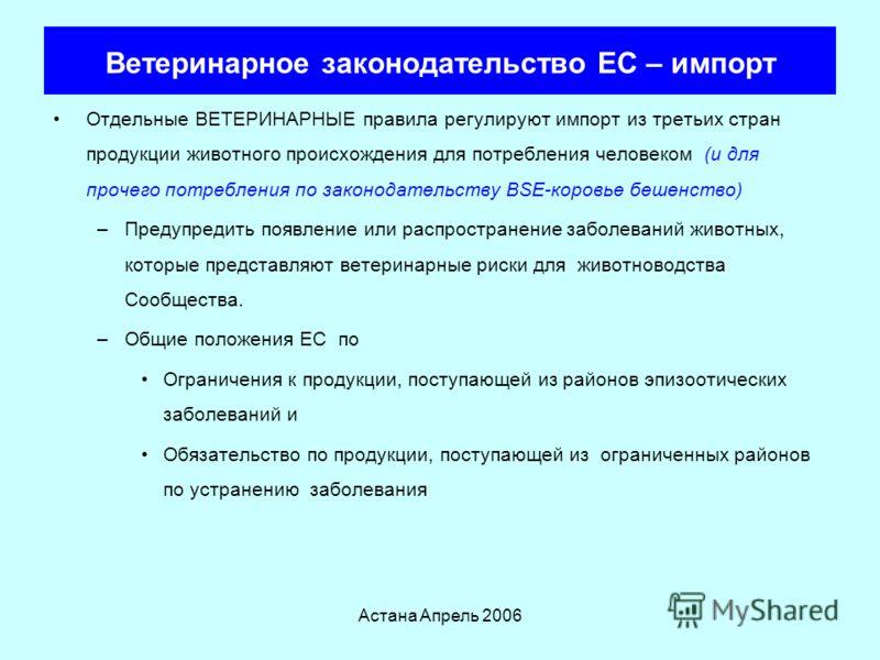 Астана Апрель 2006 Структуры Пищевого законодательства ЕС Общий Пищевой Закон Регламент 178/2002 относительно ПИЩЕВОЙ безопасности Зависит от множества вторичного законодательства и определяет параметры, используемые для определения «безопасности» Дл