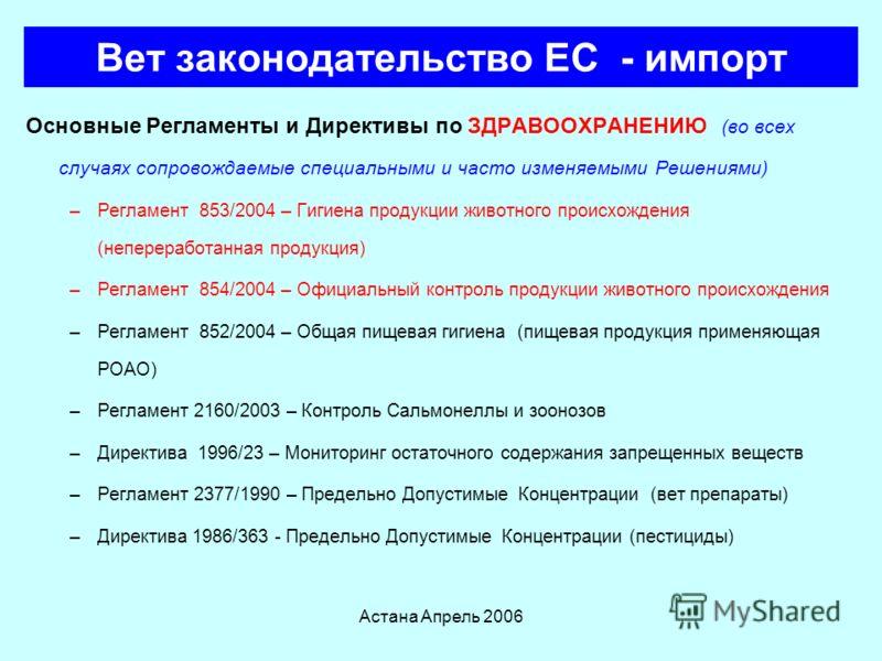 Астана Апрель 2006 Инспектируемые болезни Международной эпизоотическое бюро (МЭБ) Информацию по всем современным аспектам инфекционных болезней животных можно найти на вебсайте OIE : http://www.oie.int/eng/maladies/en_classification.htm