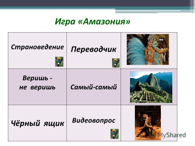 Игра «Амазония» Страноведение Переводчик Веришь - не веришьСамый-самый Чёрный ящик Видеовопрос