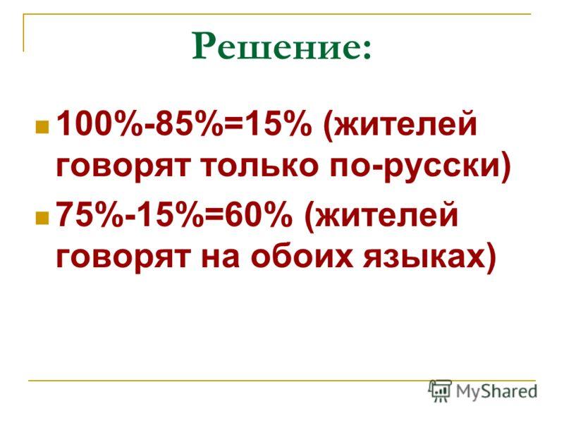 Решение: 100%-85%=15% (жителей говорят только по-русски) 75%-15%=60% (жителей говорят на обоих языках)