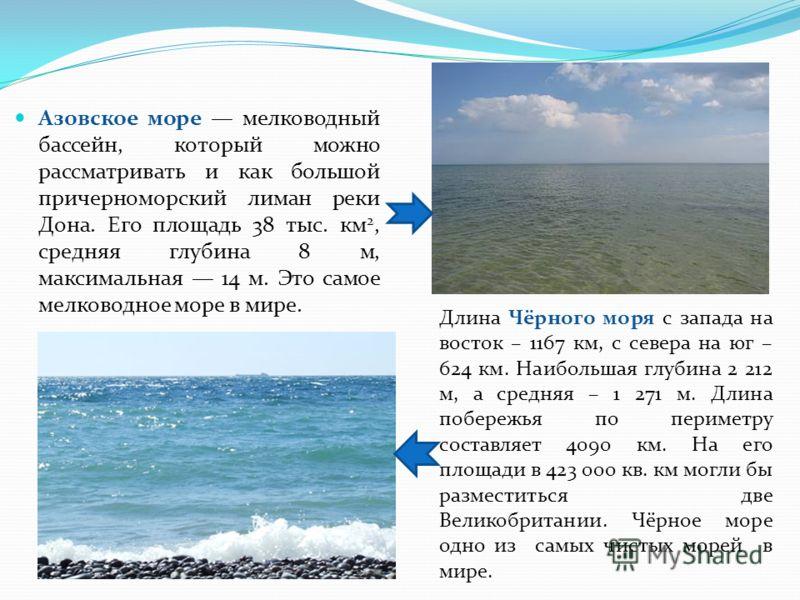 Азовское море мелководный бассейн, который можно рассматривать и как большой причерноморский лиман реки Дона. Его площадь 38 тыс. км 2, средняя глубина 8 м, максимальная 14 м. Это самое мелководное море в мире. Длина Чёрного моря с запада на восток –