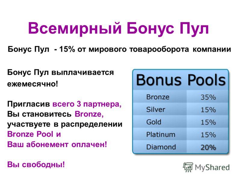 Бонус Пул - 15% от мирового товарооборота компании Бонус Пул выплачивается ежемесячно! Пригласив всего 3 партнера, Вы становитесь Bronze, участвуете в распределении Bronze Pool и Ваш абонемент оплачен! Вы свободны! Всемирный Бонус Пул