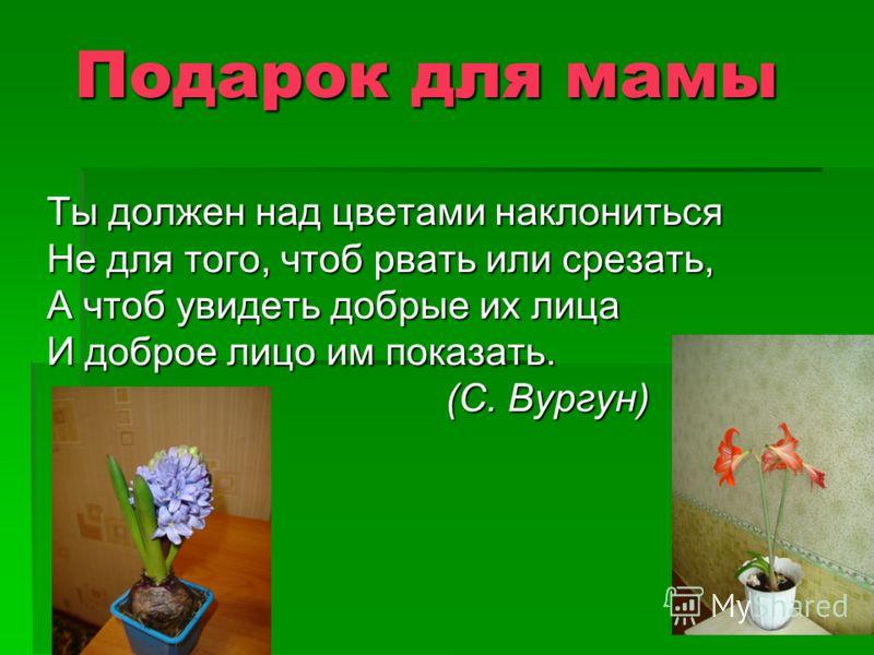 Подарок для мамы Ты должен над цветами наклониться Не для того, чтоб рвать или срезать, А чтоб увидеть добрые их лица И доброе лицо им показать. (С. Вургун)