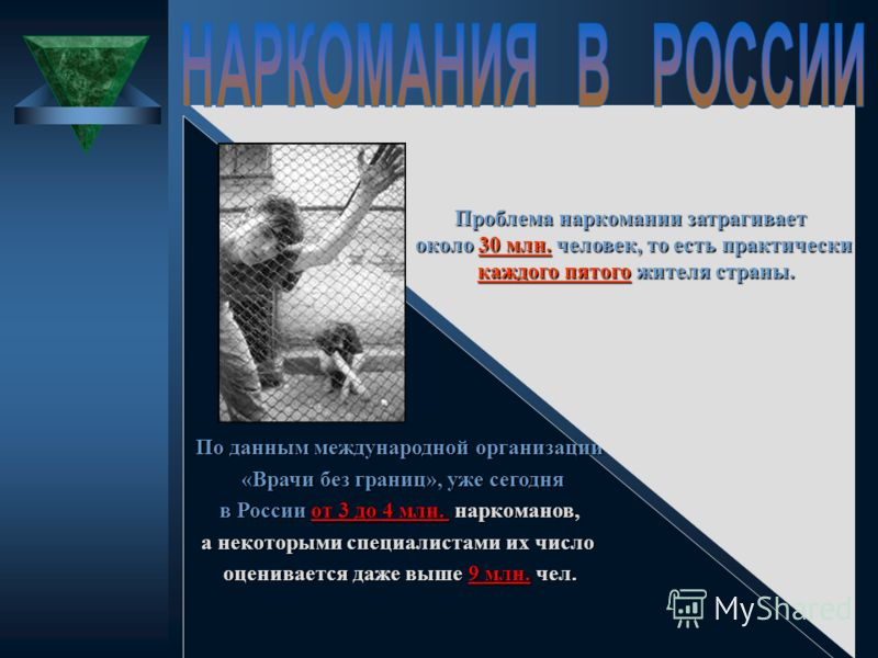 По данным международной организации «Врачи без границ», уже сегодня «Врачи без границ», уже сегодня в России от 3 до 4 млн. наркоманов, в России от 3 до 4 млн. наркоманов, а некоторыми специалистами их число оценивается даже выше 9 млн. чел. Проблема