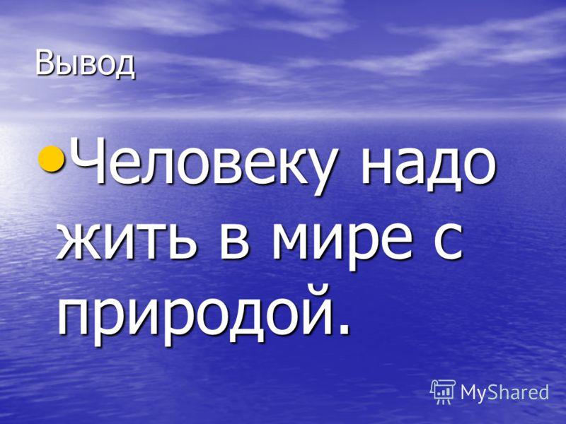Вывод Человеку надо жить в мире с природой. Человеку надо жить в мире с природой.
