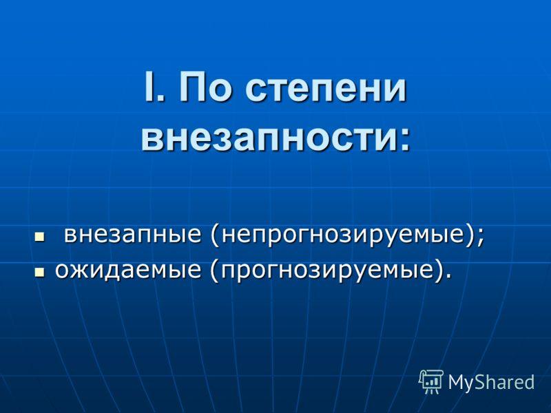 I. По степени внезапности: внезапные (непpогнозиpуемые); внезапные (непpогнозиpуемые); ожидаемые (пpогнозиpуемые). ожидаемые (пpогнозиpуемые).