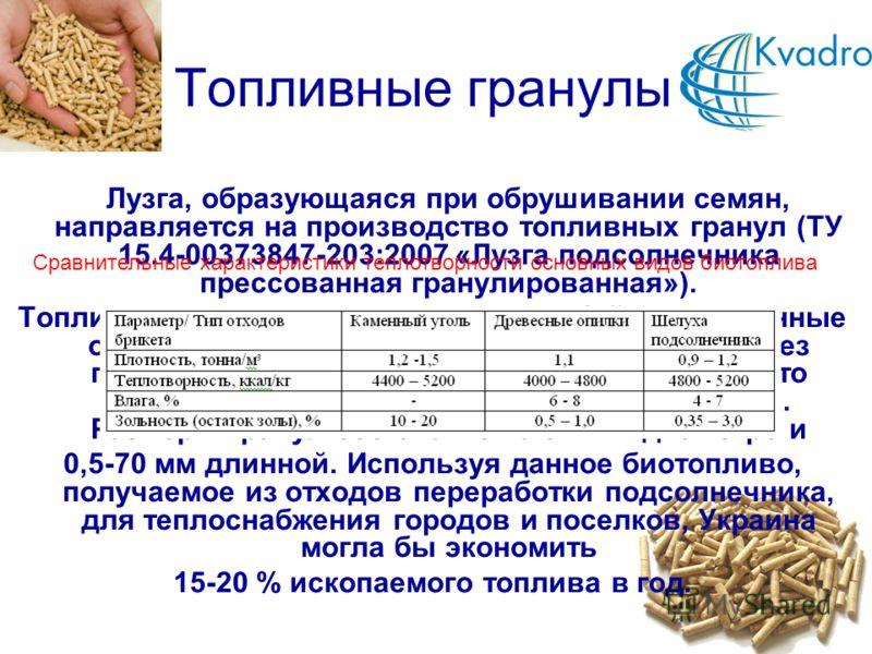 Топливные гранулы Лузга, образующаяся при обрушивании семян, направляется на производство топливных гранул (ТУ 15.4-00373847-203:2007 «Лузга подсолнечника прессованная гранулированная»). Топливные гранулы представляют собой прессованные отходы лузги