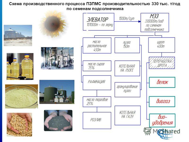 Схема производственного процесса ПЗПМС производительностью 330 тыс. т/год по семенам подсолнечника