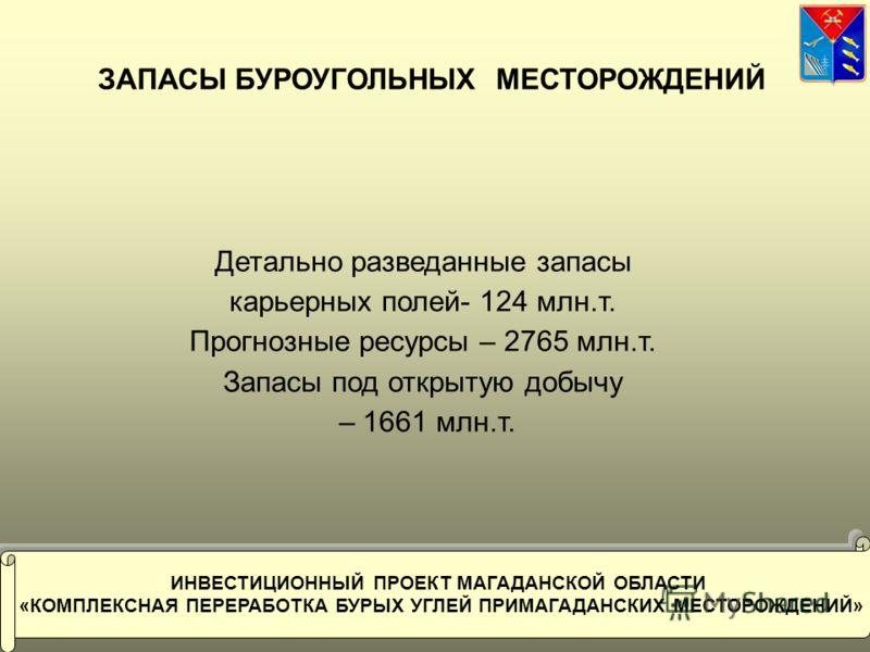 9 ЗАПАСЫ БУРОУГОЛЬНЫХ МЕСТОРОЖДЕНИЙ Детально разведанные запасы карьерных полей- 124 млн.т. Прогнозные ресурсы – 2765 млн.т. Запасы под открытую добычу – 1661 млн.т. ИНВЕСТИЦИОННЫЙ ПРОЕКТ МАГАДАНСКОЙ ОБЛАСТИ «КОМПЛЕКСНАЯ ПЕРЕРАБОТКА БУРЫХ УГЛЕЙ ПРИМА