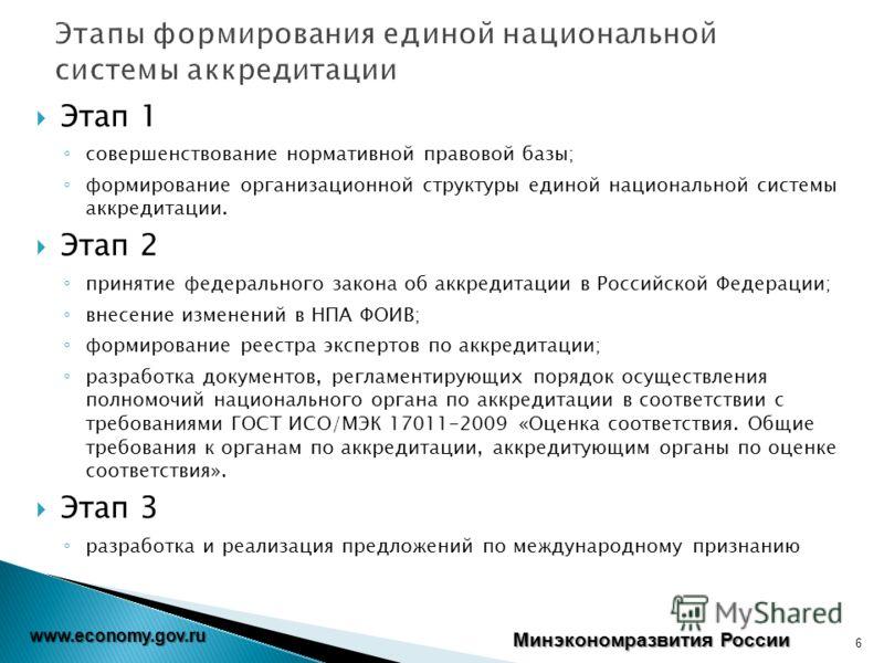 Этап 1 совершенствование нормативной правовой базы; формирование организационной структуры единой национальной системы аккредитации. Этап 2 принятие федерального закона об аккредитации в Российской Федерации; внесение изменений в НПА ФОИВ; формирован