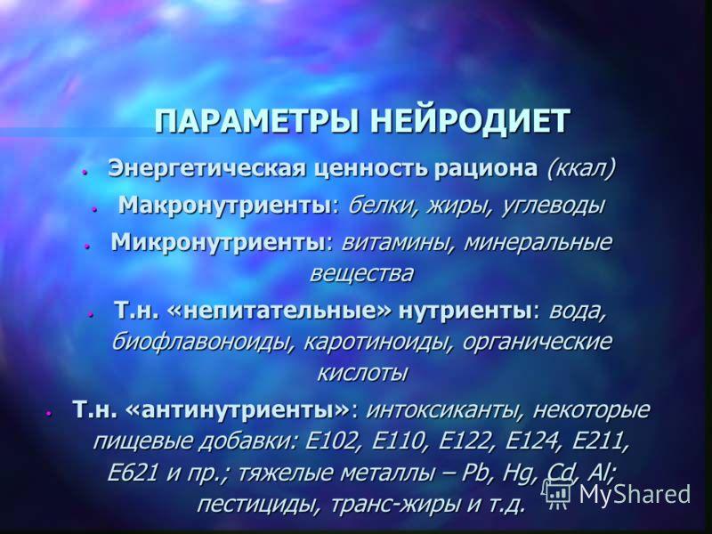ПАРАМЕТРЫ НЕЙРОДИЕТ Энергетическая ценность рациона (ккал) Энергетическая ценность рациона (ккал) Макронутриенты: белки, жиры, углеводы Макронутриенты: белки, жиры, углеводы Микронутриенты: витамины, минеральные вещества Микронутриенты: витамины, мин