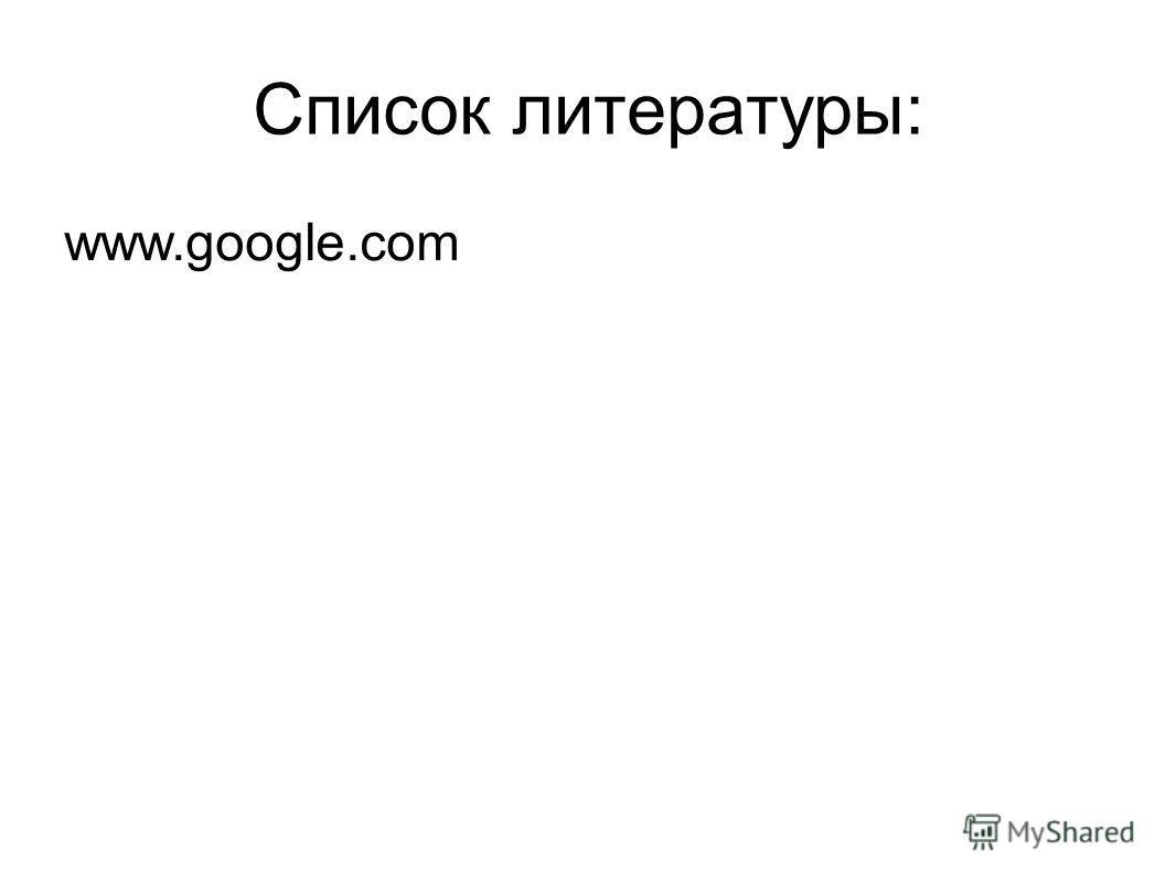 Список литературы: www.google.com