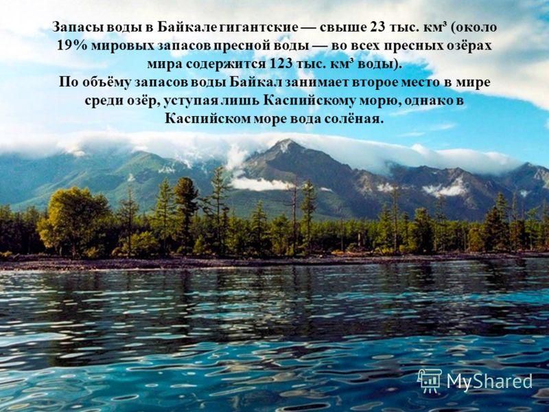 Запасы воды в Байкале гигантские свыше 23 тыс. км³ (около 19% мировых запасов пресной воды во всех пресных озёрах мира содержится 123 тыс. км³ воды). По объёму запасов воды Байкал занимает второе место в мире среди озёр, уступая лишь Каспийскому морю