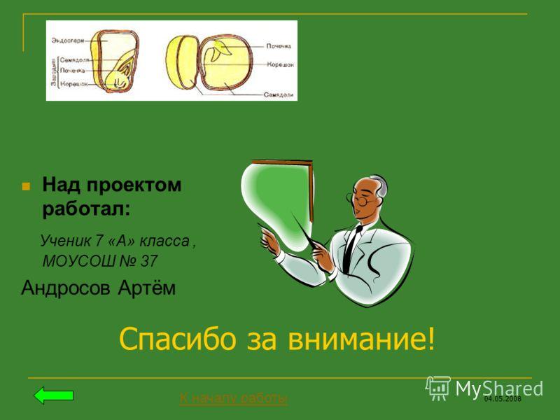 Над проектом работал: Ученик 7 «А» класса, МОУСОШ 37 Андросов Артём 04.05.2008 Спасибо за внимание! К началу работы