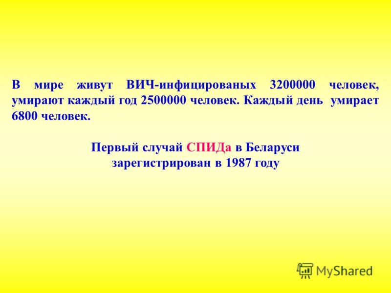 В мире живут ВИЧ-инфицированых 3200000 человек, умирают каждый год 2500000 человек. Каждый день умирает 6800 человек. Первый случай СПИДа в Беларуси зарегистрирован в 1987 году