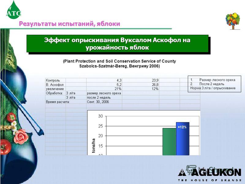 Эффект опрыскивания Вуксалом Аскофол на урожайность яблок (Plant Protection and Soil Conservation Service of County Szabolcs-Szatmár-Bereg, Венгрияy 2006) 1.Размер лесного ореха 2.После 2 недель Норма:3 л/га / опрыскивание Результаты испытаний, яблок