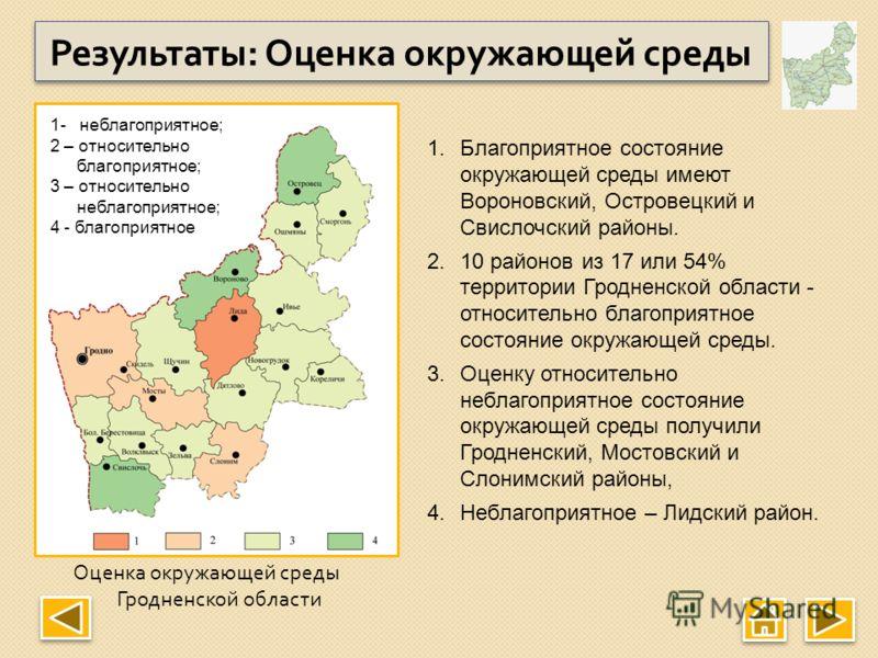 Оценка окружающей среды Гродненской области Результаты : Оценка окружающей среды 1.Благоприятное состояние окружающей среды имеют Вороновский, Островецкий и Свислочский районы. 2.10 районов из 17 или 54% территории Гродненской области - относительно