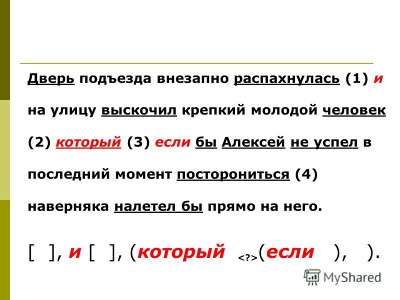 Дверь подъезда внезапно распахнулась (1) и на улицу выскочил крепкий молодой человек (2) который (3) если бы Алексей не успел в последний момент посторониться (4) наверняка налетел бы прямо на него. [ ], и [ ], (который (если ), ).