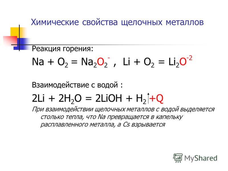Химические свойства щелочных металлов Реакция горения: Na + O 2 = Na 2 O 2 -, Li + O 2 = Li 2 O -2 Взаимодействие с водой : 2Li + 2H 2 O = 2LiOH + H 2 +Q При взаимодействии щелочных металлов с водой выделяется столько тепла, что Na превращается в кап