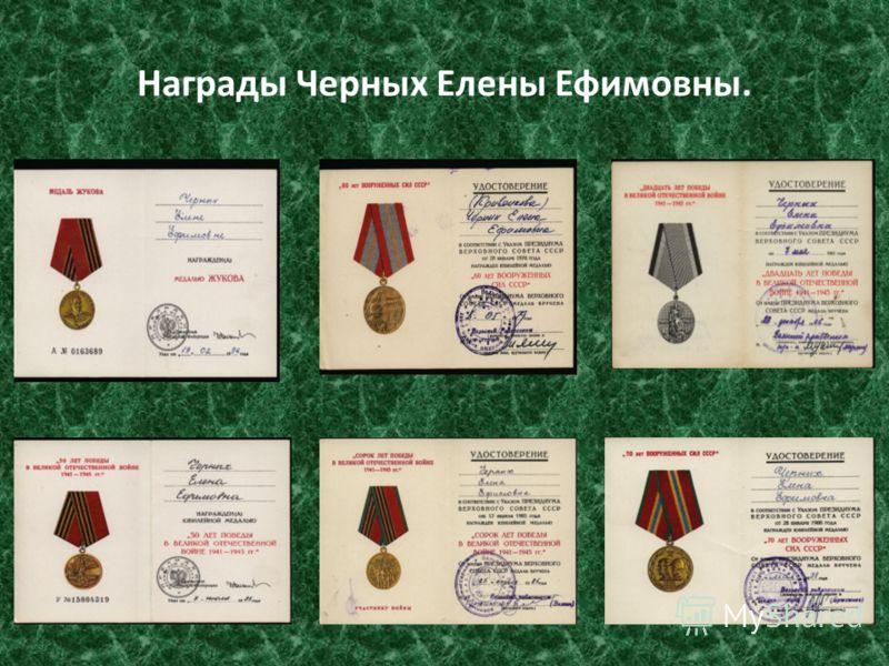 Награды Черных Елены Ефимовны.
