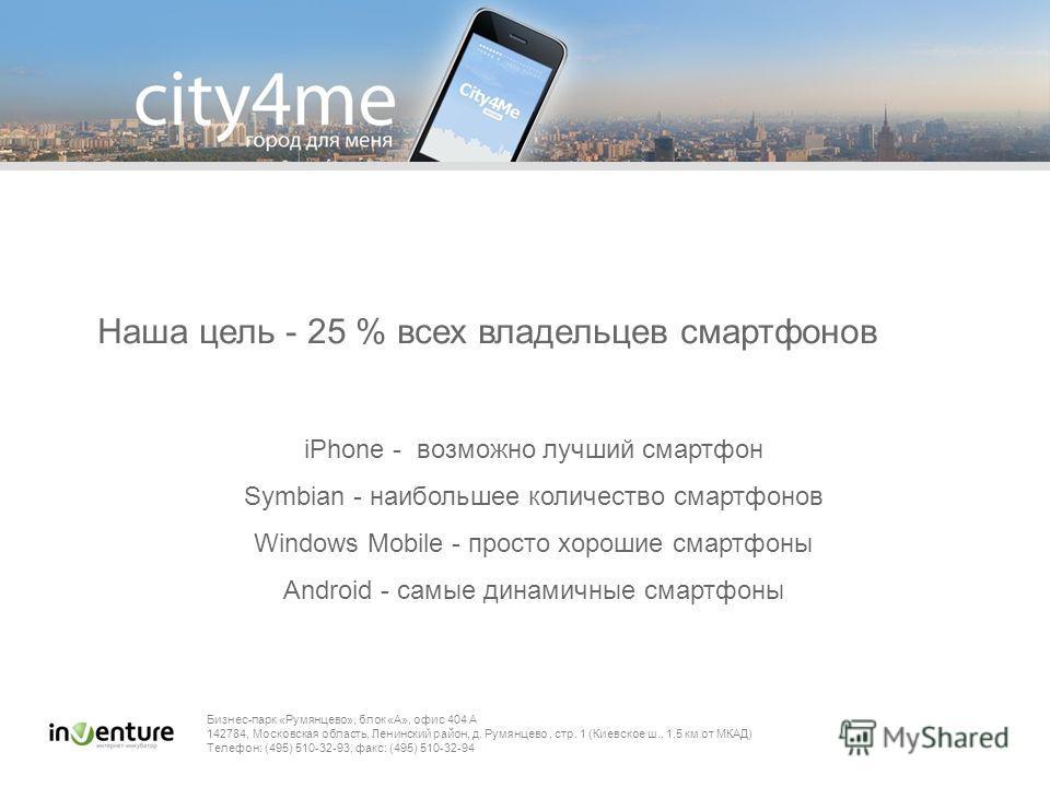 Бизнес-парк «Румянцево», блок «А», офис 404 A 142784, Московская область, Ленинский район, д. Румянцево, стр. 1 (Киевское ш., 1,5 км от МКАД) Телефон: (495) 510-32-93, факс: (495) 510-32-94 Наша цель - 25 % всех владельцев смартфонов iPhone - возможн
