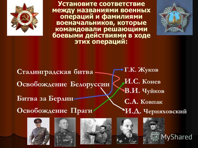 Установите соответствие между названиями военных операций и фамилиями военачальников, которые командовали решающими боевыми действиями в ходе этих опе