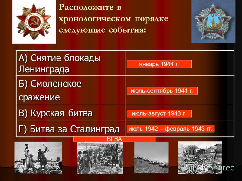 Расположите в хронологическом порядке следующие события: А) Снятие <a href='http://www.myshared.ru/slide/282467/' title='блокада ленинграда'>блокады Л