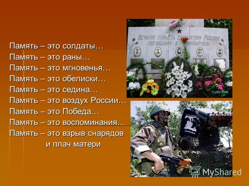 Память – это солдаты… Память – это раны… Память – это мгновенья… Память – это обелиски… Память – это седина… Память – это воздух России… Память – это Победа… Память – это воспоминания… Память – это взрыв снарядов и плач матери и плач матери