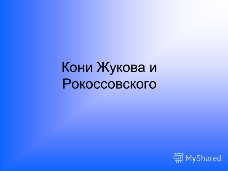 Кони Жукова и Рокоссовского