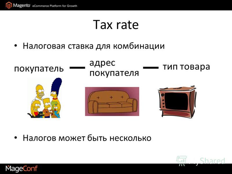 Тax rate Налоговая ставка для комбинации Налогов может быть несколько покупатель тип товара адрес покупателя